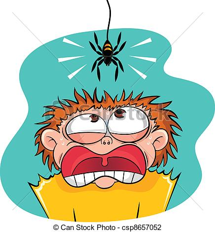 Fear clipart horrified  of of spider scared