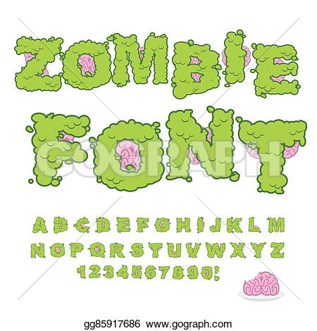 Zombie clipart green Horrible Zombie and brain font
