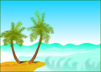 Scenery clipart Palm trees by shore Free