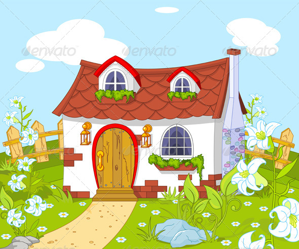 Scenery clipart cute house #9