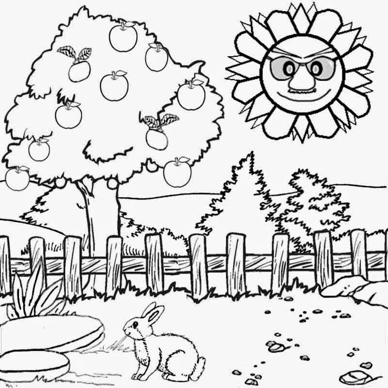 Scenery clipart line drawing #9