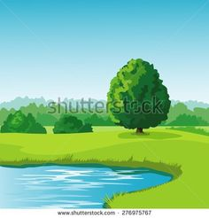 Scenery clipart pond #14