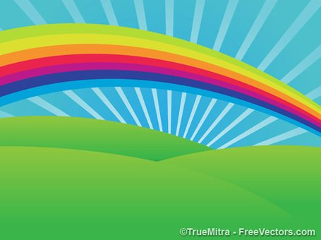 Scenery clipart rainbow scenery #15