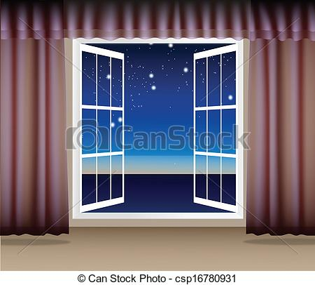 Window clipart scene Through the of Night window
