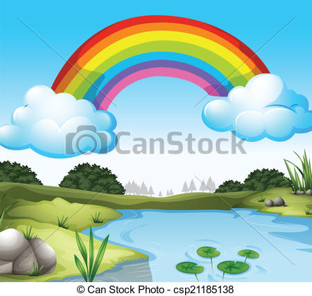 Outside clipart scenery Vectors a rainbow with A