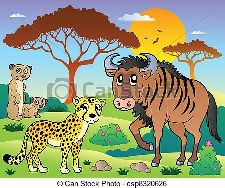 Wildlife clipart scenery  vector animals scenery with