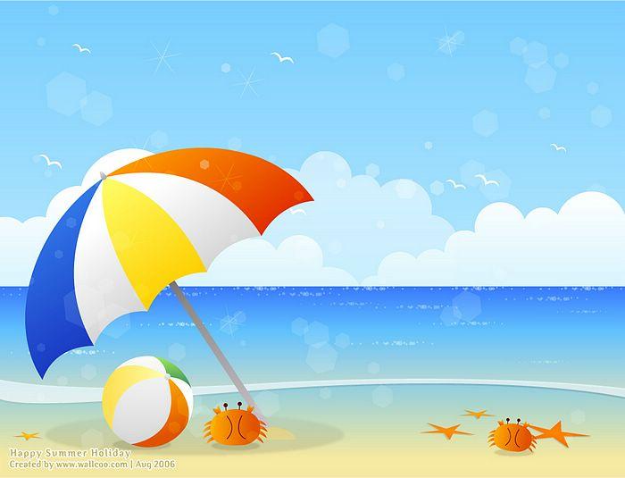 Seashore clipart summer scenery #5
