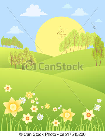 Drawn scenery spring scenery Clipart an  spring Vector