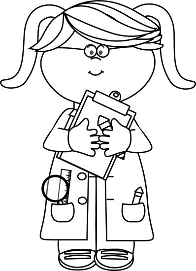 Scientist clipart black and white Find on Clip Pinterest Black