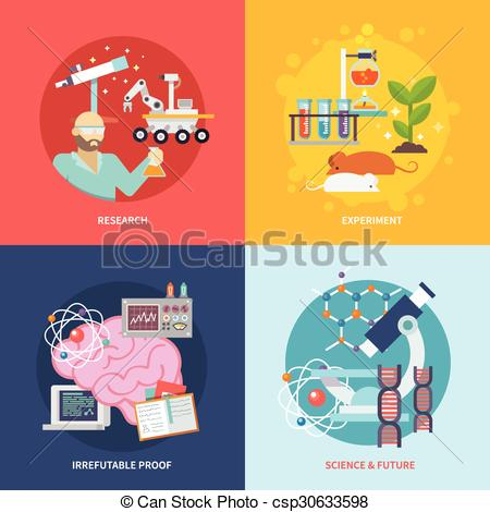 Science clipart research design Research set illustration isolated vector