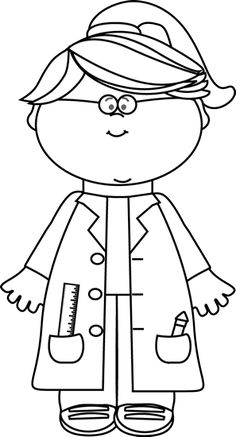Scientist clipart black and white Black Scientist Tube with Test