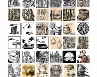 Steampunk clipart invention Sheet collage Science science graphics