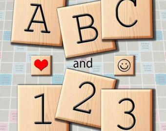 Scrabble clipart Numbers Scrabble Wooden Printable Alphabet