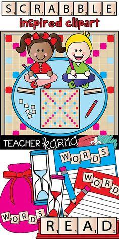 Scrabble clipart language art Tiles Tiles Scrabble Clipart BUNDLE