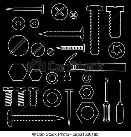Screws clipart outline Hardware with Vector  of