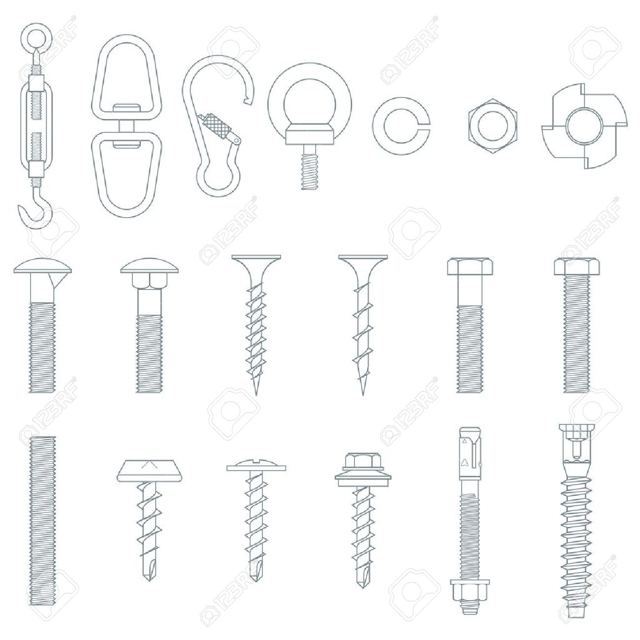Screws clipart outline Bolt clipart collection Screw bolts