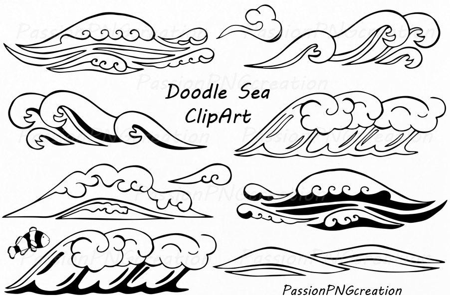 Sea clipart wave line #11