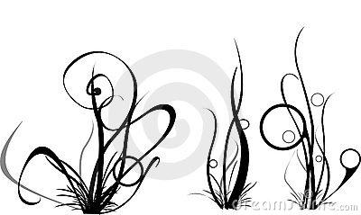 Sea Grass clipart black and white #14