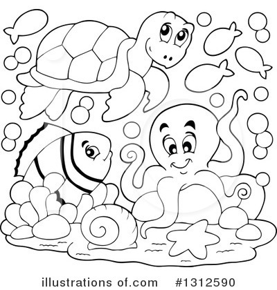 Black & White clipart sea life Life by Sea #1312590 #1312590