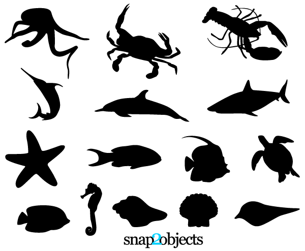 Drawn sea life vector Free Silhouettes Free Vectors Free