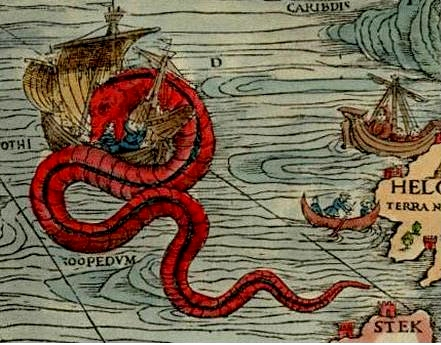Sea Monster clipart old world Sea with monsters Map Sea