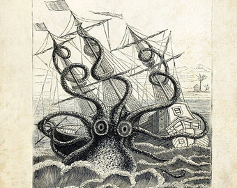 Sea Monster clipart old world Antique Print Pirate Mythological Etsy