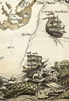 Sea Monster clipart old world Pirate Why Pinterest find Vintage