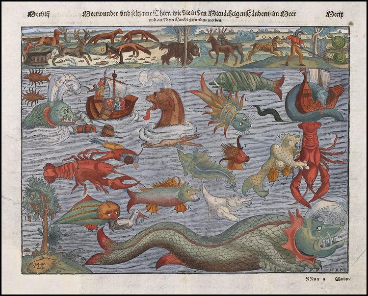 Sea Monster clipart old world Vintage monsters Vintage sea on