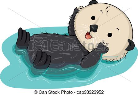 Otter clipart cute Of EPS Sea a Float