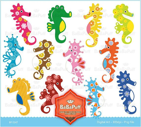 Seahorse clipart colorful #3