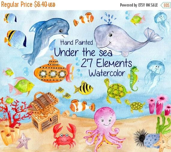 Seafood clipart baby shower whale SALE30% Kids Invitation Nautical Animals