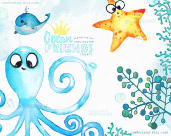 Seafood clipart sea animal Animals Kids Watercolor Cute clipart