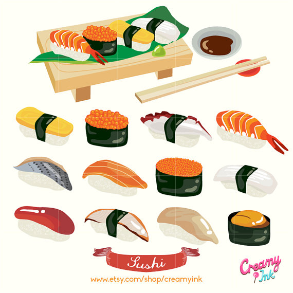 Sushi clipart graphic From CreamyInk Fish Digital Clip