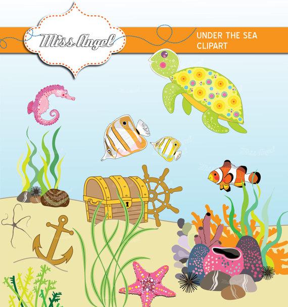 Seafood clipart under sea Illustrations fish aquatic tropical Turtle