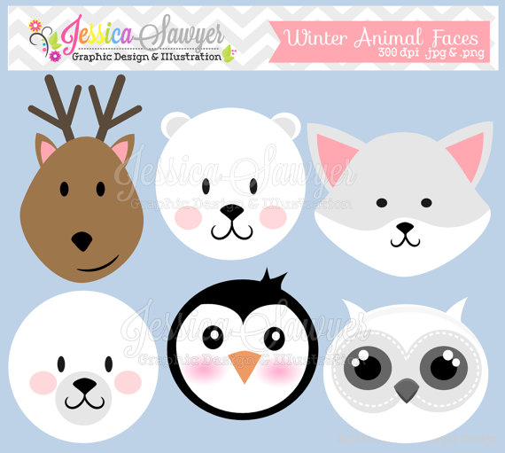 Winter clipart winter animal Clipart animal art faces clipart