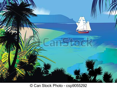 Seascape clipart Clipart the Silhouette of jungle
