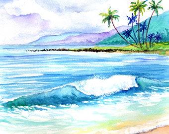 Seascape clipart hawaiian beach #3
