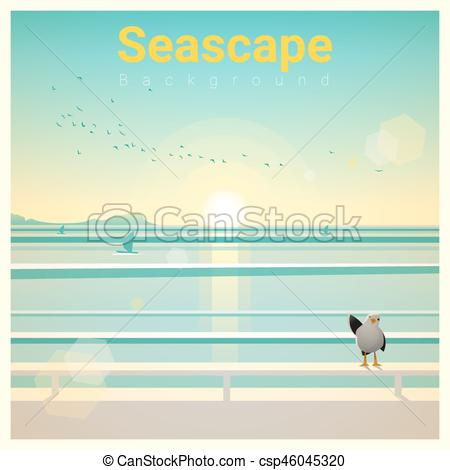 Seascape clipart sea view #15