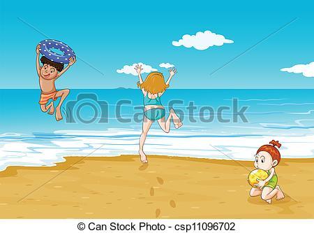 Beach clipart seashore Seashore illustration Clipart Seashore Art