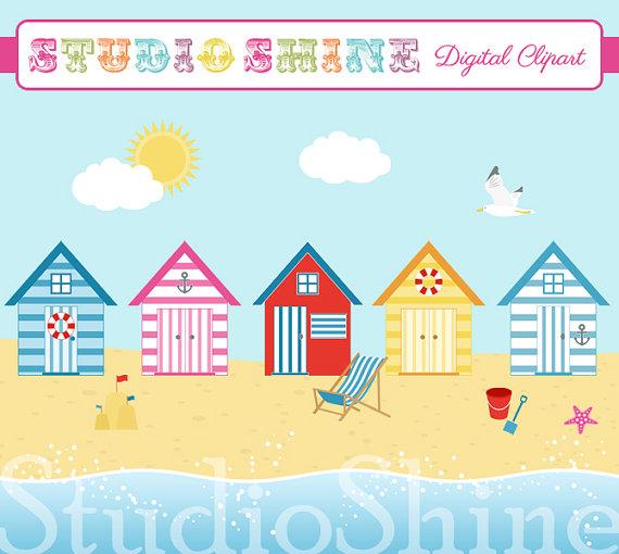 Seaside clipart Digital Seaside Art EPS Nautical