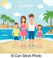Holydays clipart family holiday Vector by Family Sea Seaside