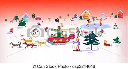 Winter clipart activites Illustration Activities Illustration of Kids