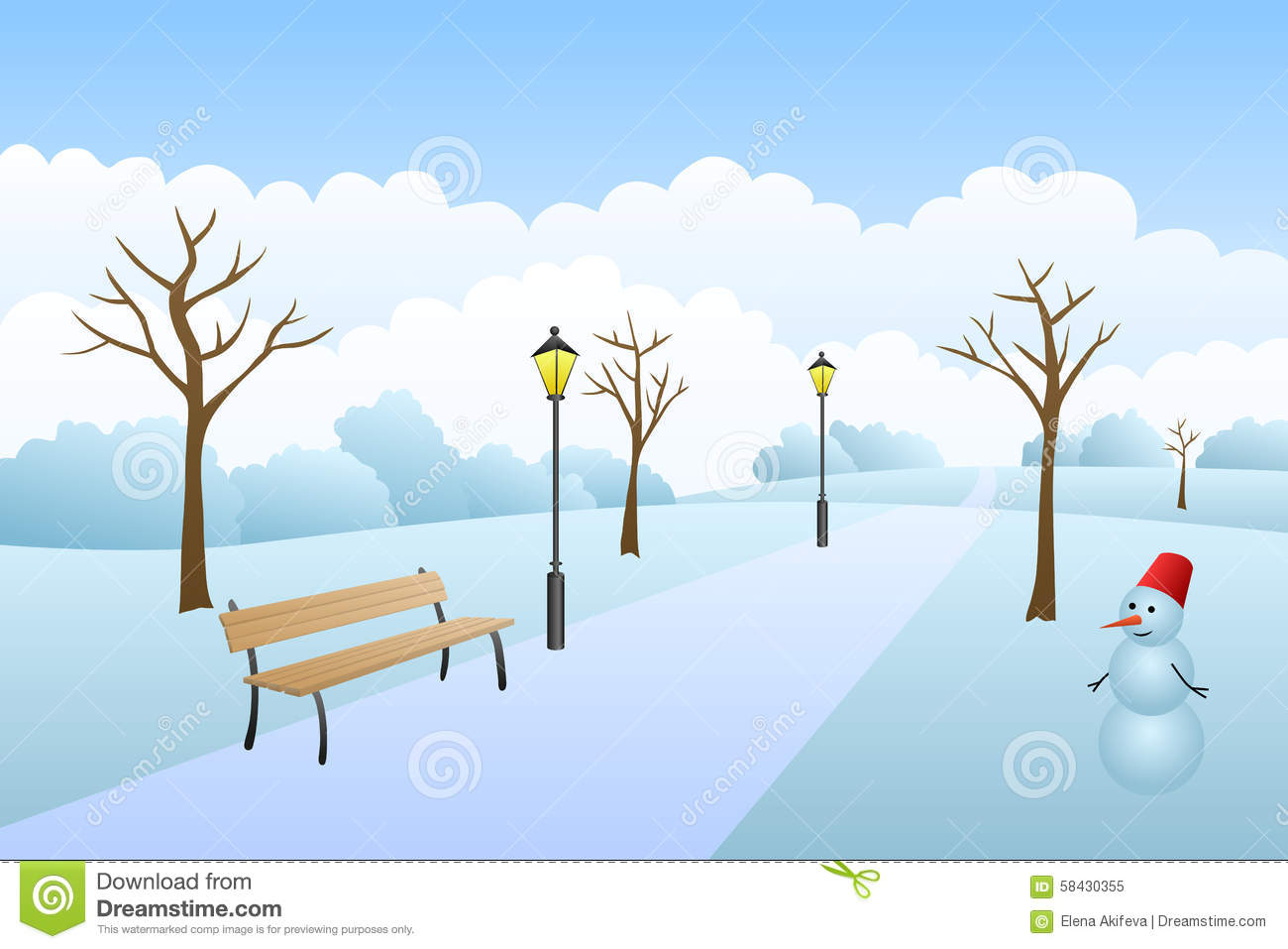 Winter clipart snow day Snow Landscape day collection clipart