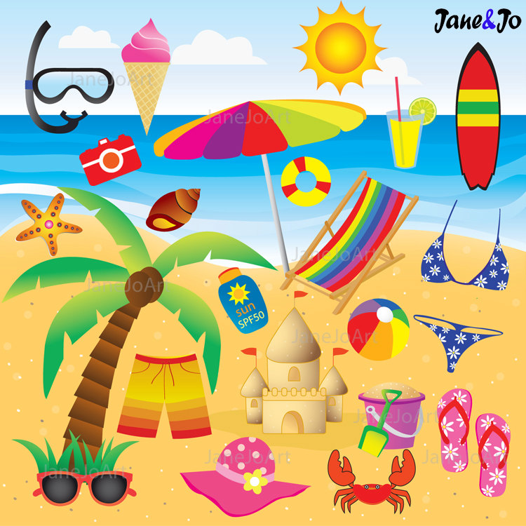 Seascape clipart kid beach party #2