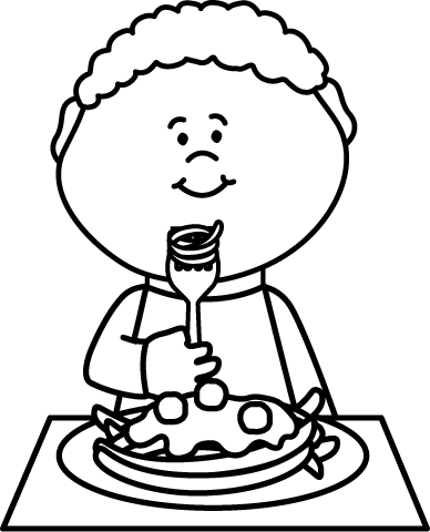 Pasta clipart boy eating And Boy White Coloring this
