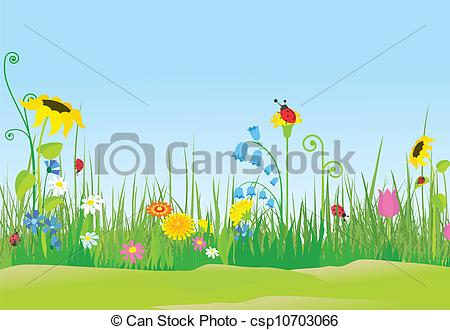 See clipart flower meadow  ladybugs Art Vector meadow