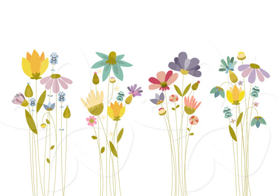 See clipart flower meadow Digital Set and Abstract Meadow