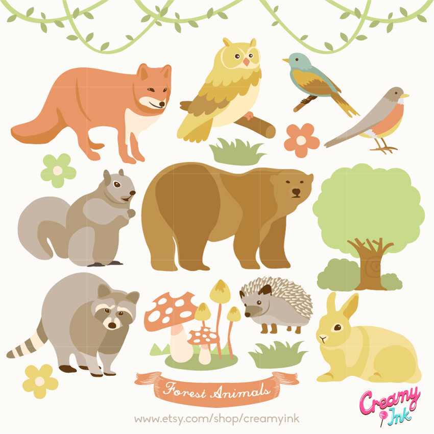 Hedgehog clipart forest animal Fox Forest featuring owl digital