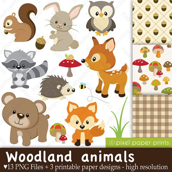 Wood clipart woodlands Woodland Clip paper animals on