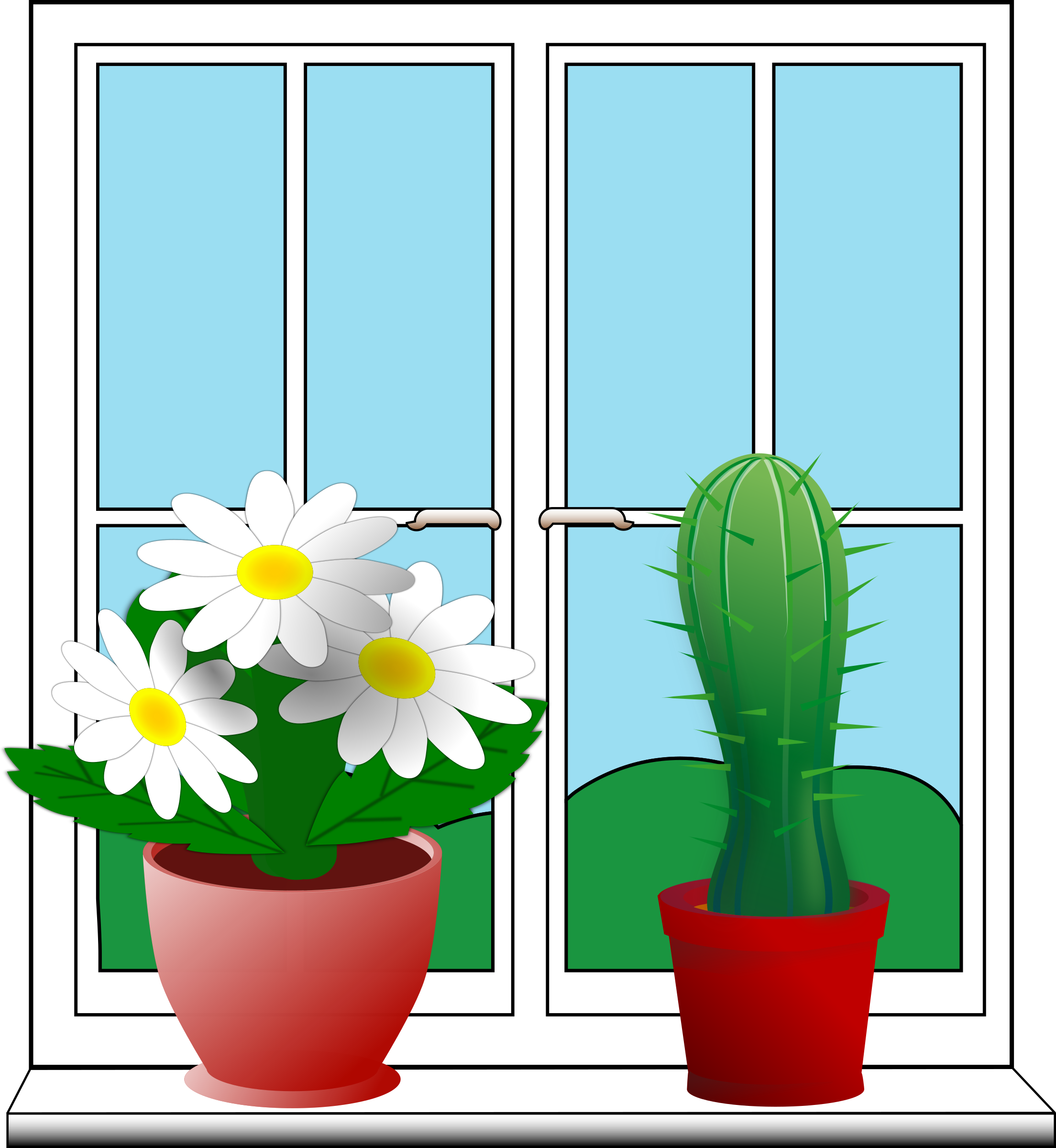 Window clipart outside window Window Window with with potted